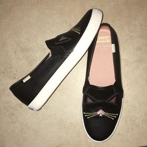 New Kate Spade Girls size 3 Cat Face Keds Sneakers
